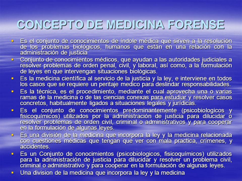 CONCEPTO DE MEDICINA FORENSE