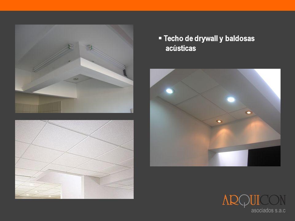 Techo de drywall y baldosas