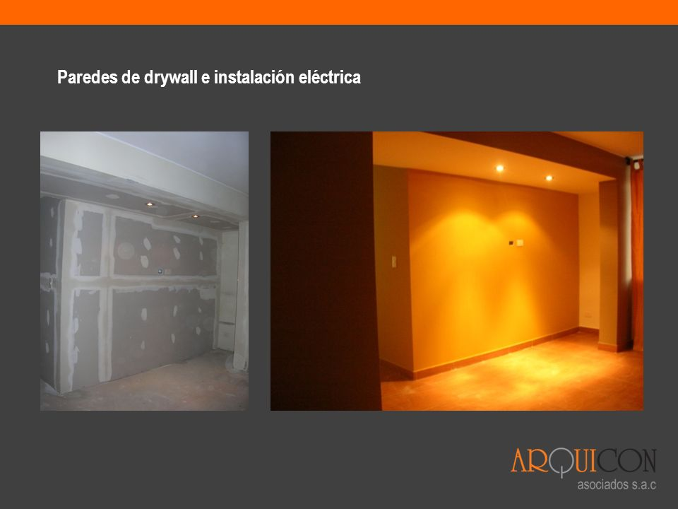 Paredes de drywall e instalación eléctrica
