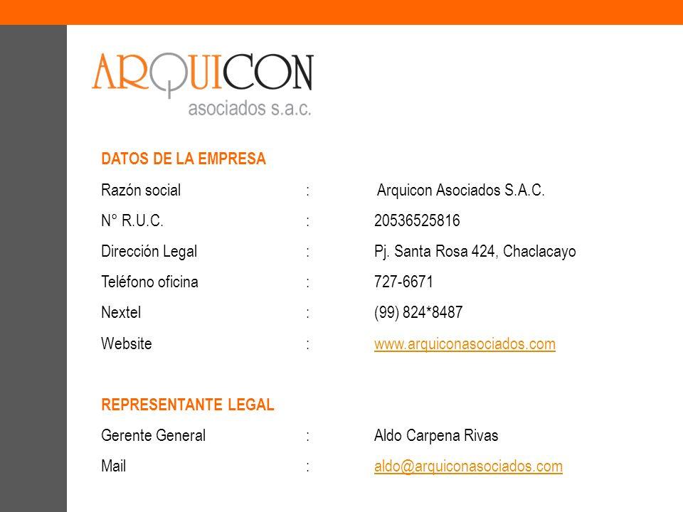 DATOS DE LA EMPRESA Razón social : Arquicon Asociados S.A.C. N° R.U.C. : 20536525816. Dirección Legal : Pj. Santa Rosa 424, Chaclacayo.
