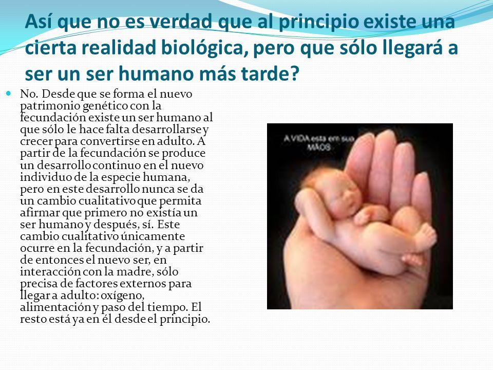 Así que no es verdad que al principio existe una cierta realidad biológica, pero que sólo llegará a ser un ser humano más tarde