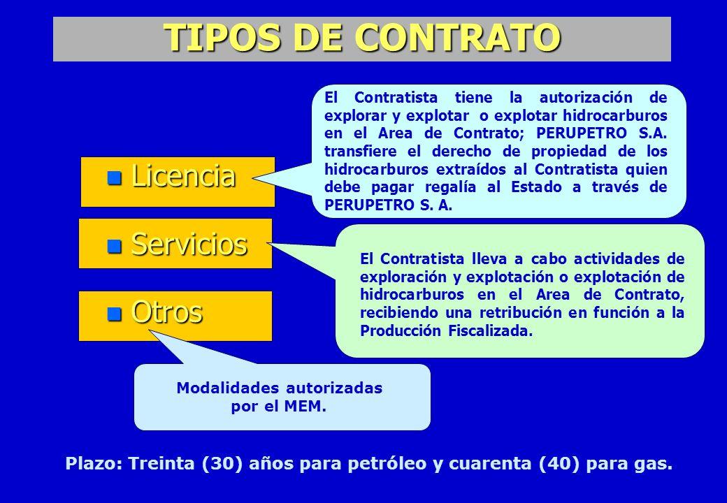 Modalidades autorizadas por el MEM.