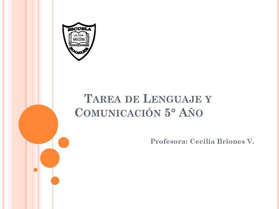 Tarea de Lenguaje y Comunicación 5° Año