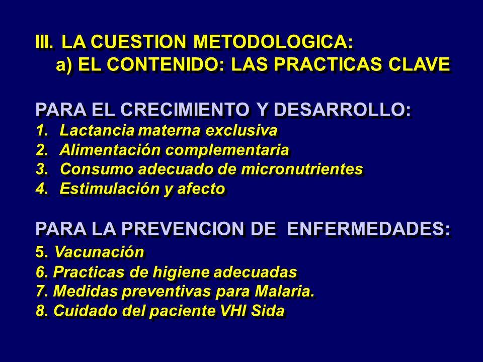 III. LA CUESTION METODOLOGICA: a) EL CONTENIDO: LAS PRACTICAS CLAVE