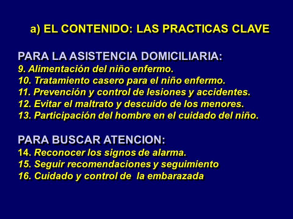 a) EL CONTENIDO: LAS PRACTICAS CLAVE PARA LA ASISTENCIA DOMICILIARIA: