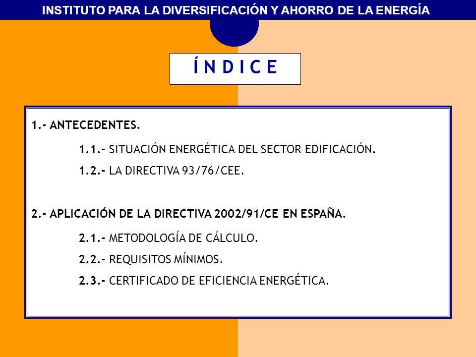 Í N D I C E 1.- ANTECEDENTES. 1.1.- SITUACIÓN ENERGÉTICA DEL SECTOR EDIFICACIÓN. 1.2.- LA DIRECTIVA 93/76/CEE.