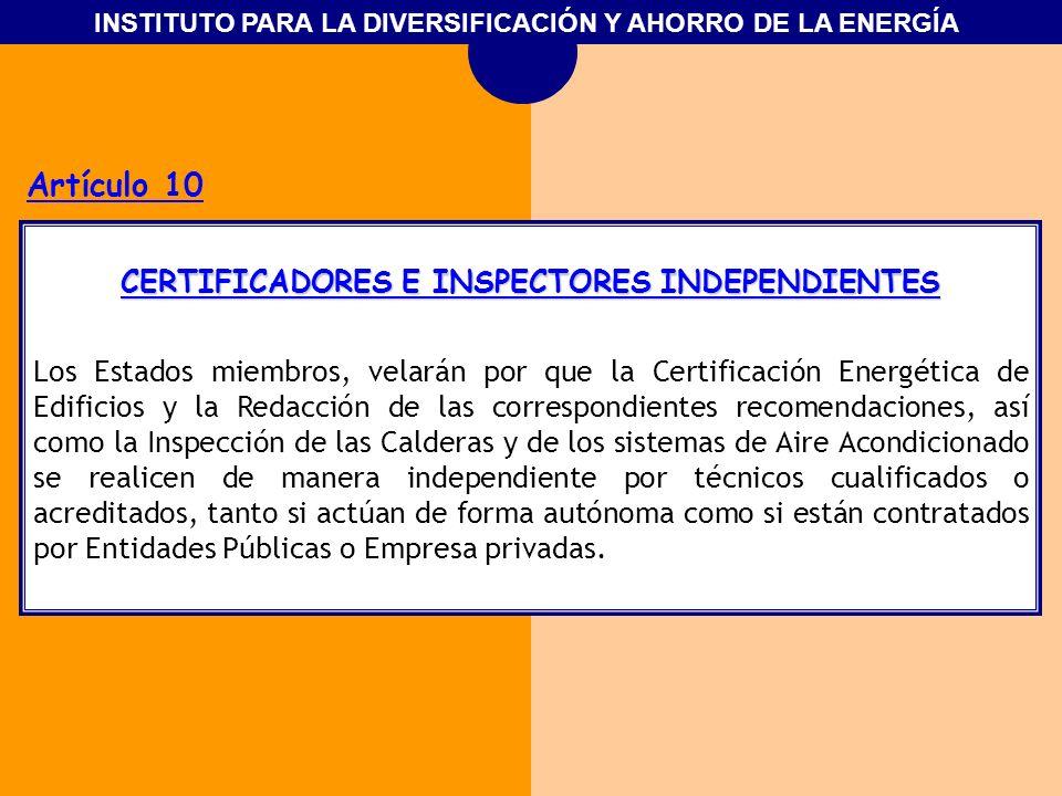 CERTIFICADORES E INSPECTORES INDEPENDIENTES
