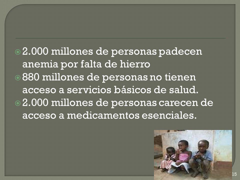 2.000 millones de personas padecen anemia por falta de hierro