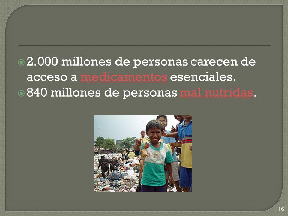 2.000 millones de personas carecen de acceso a medicamentos esenciales.