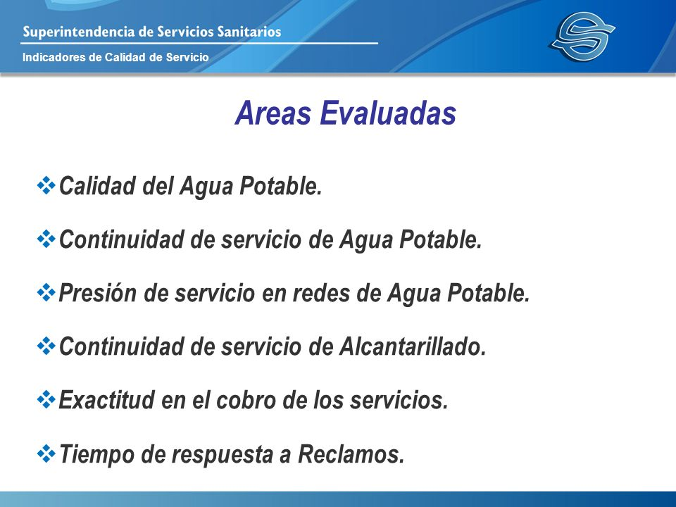Areas Evaluadas Calidad del Agua Potable.