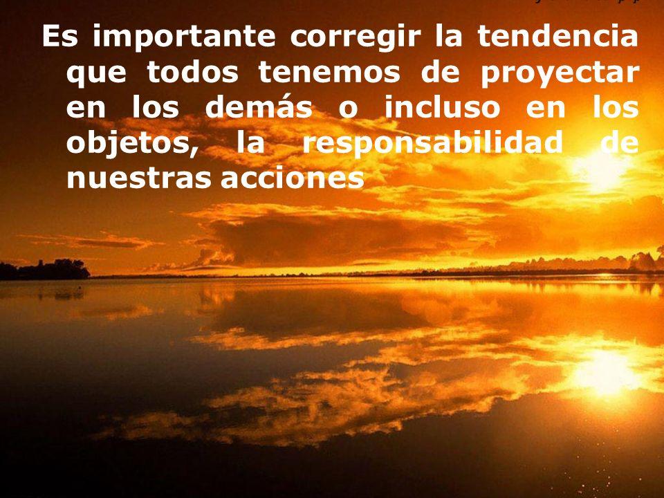 Es importante corregir la tendencia que todos tenemos de proyectar en los demás o incluso en los objetos, la responsabilidad de nuestras acciones