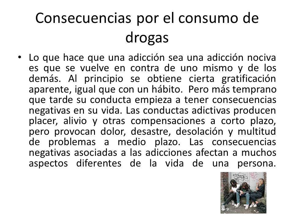 Consecuencias por el consumo de drogas