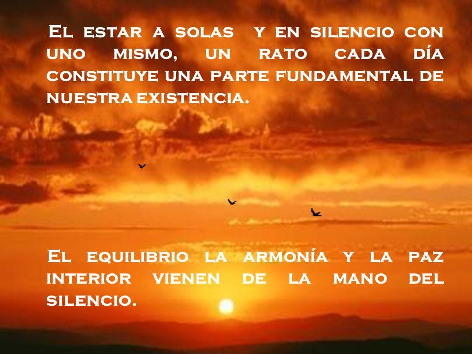 El estar a solas y en silencio con uno mismo, un rato cada día constituye una parte fundamental de nuestra existencia.
