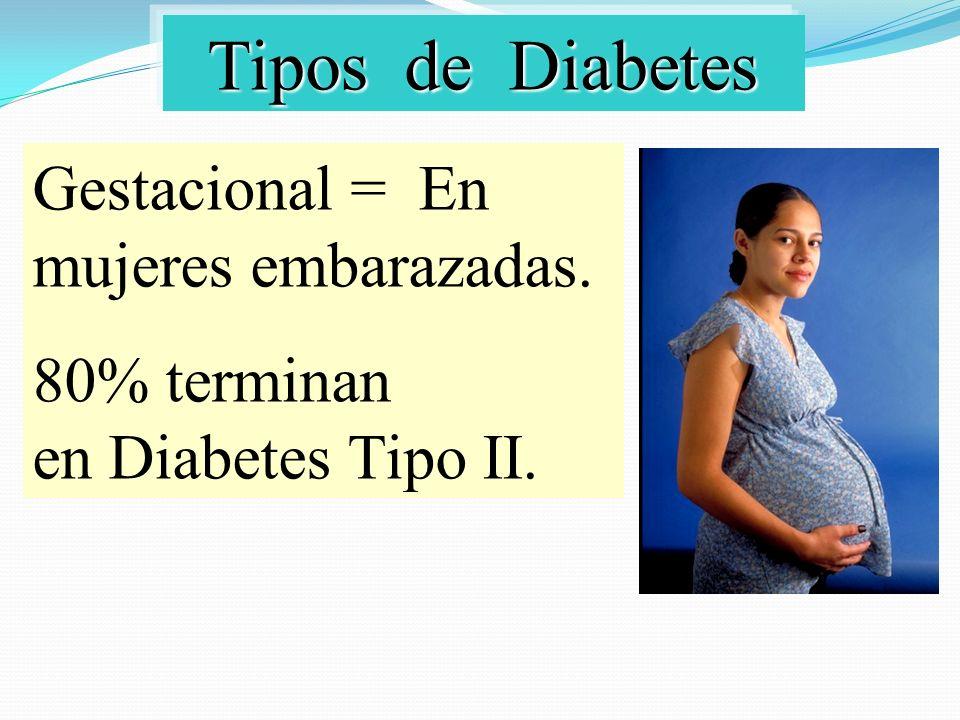 Tipos de Diabetes Gestacional = En mujeres embarazadas.