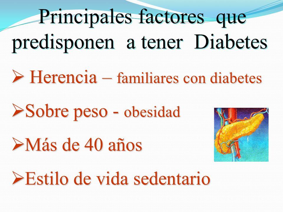 Principales factores que predisponen a tener Diabetes