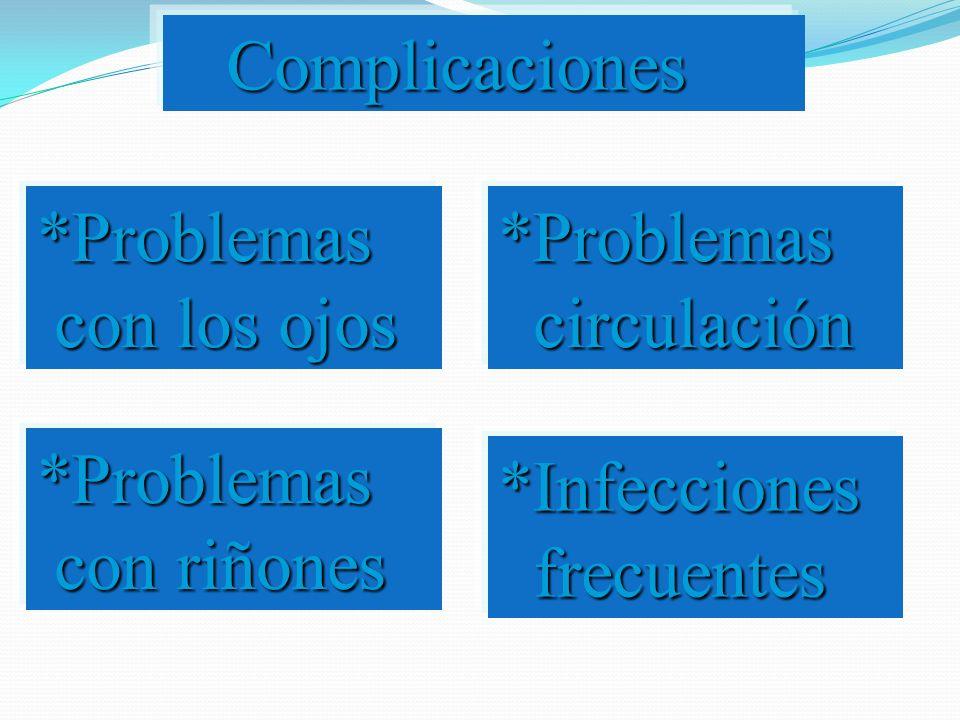 Complicaciones *Problemas con los ojos. *Problemas circulación. *Problemas con riñones.