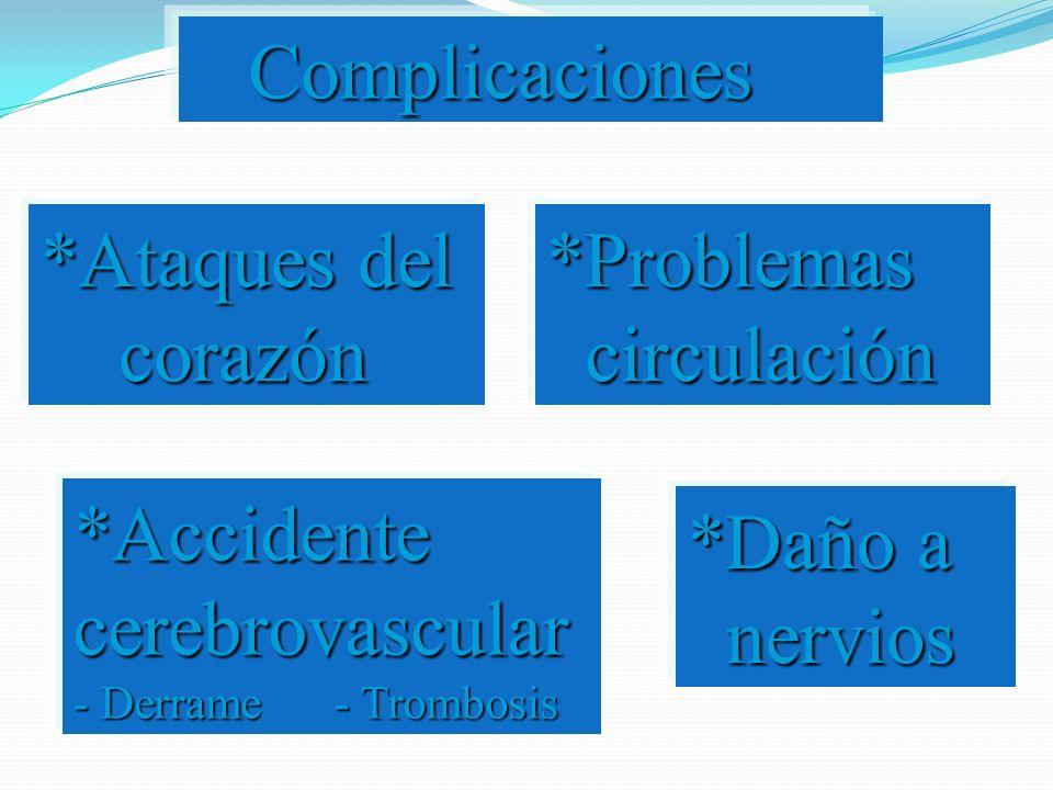 Complicaciones *Ataques del corazón. *Problemas circulación. *Accidente cerebrovascular - Derrame - Trombosis.