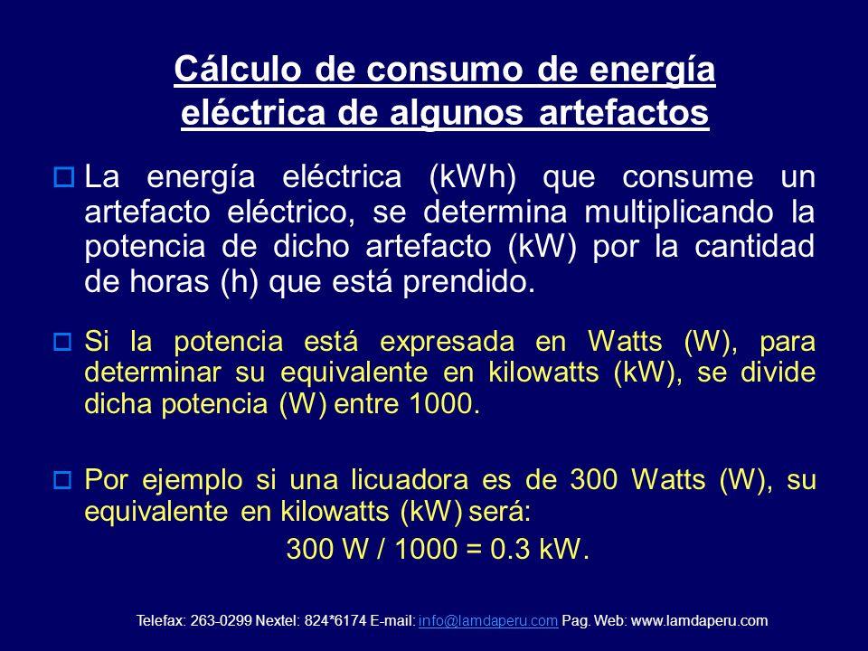 Cálculo de consumo de energía eléctrica de algunos artefactos