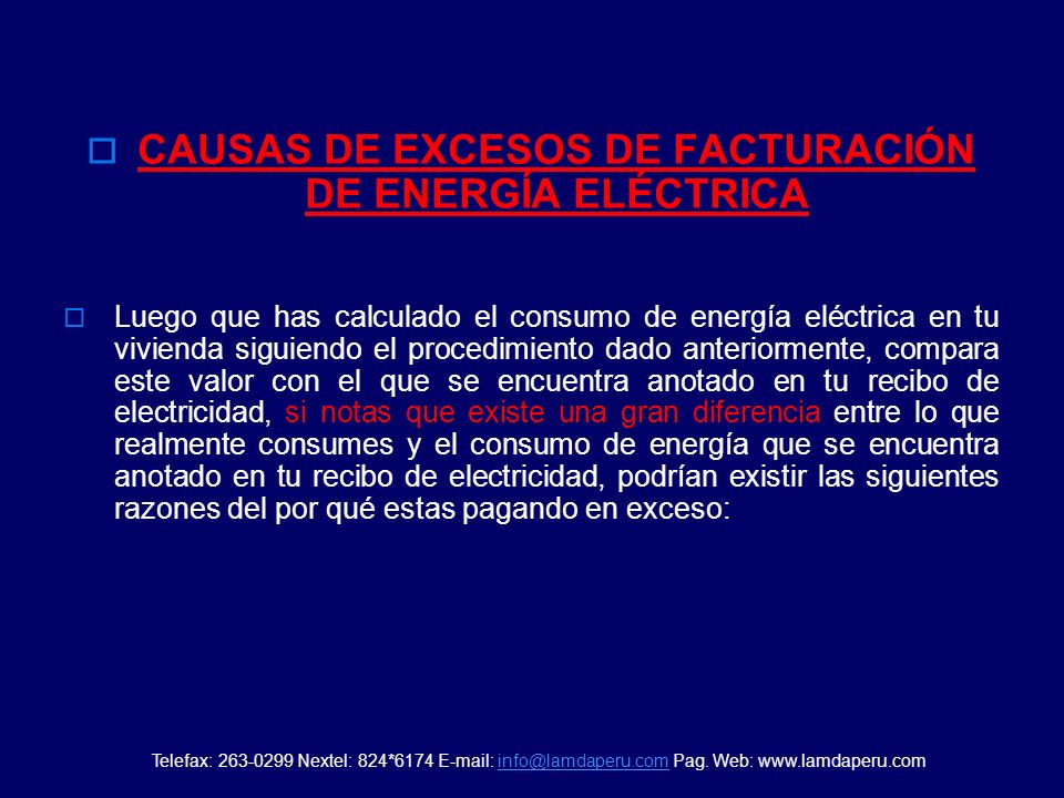 CAUSAS DE EXCESOS DE FACTURACIÓN DE ENERGÍA ELÉCTRICA