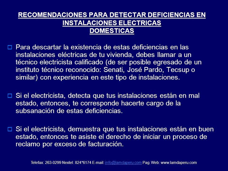RECOMENDACIONES PARA DETECTAR DEFICIENCIAS EN INSTALACIONES ELECTRICAS DOMESTICAS