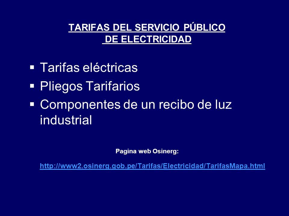 TARIFAS DEL SERVICIO PÚBLICO DE ELECTRICIDAD