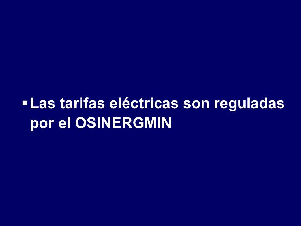 Las tarifas eléctricas son reguladas por el OSINERGMIN