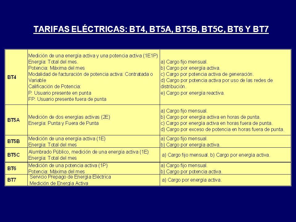 TARIFAS ELÉCTRICAS: BT4, BT5A, BT5B, BT5C, BT6 Y BT7