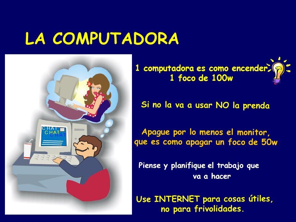 LA COMPUTADORA 1 computadora es como encender 1 foco de 100w