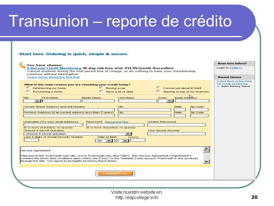 Transunion – reporte de crédito