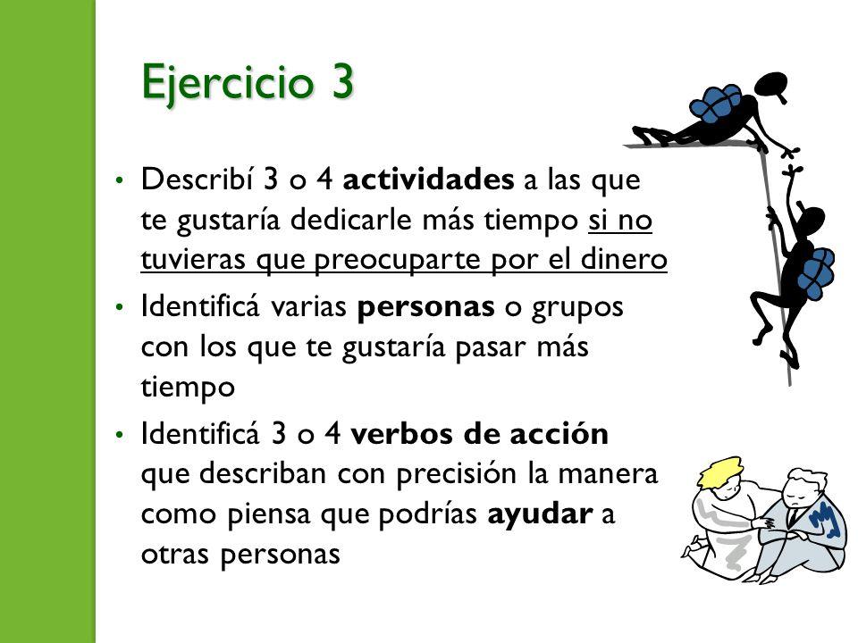 Ejercicio 3 Describí 3 o 4 actividades a las que te gustaría dedicarle más tiempo si no tuvieras que preocuparte por el dinero.