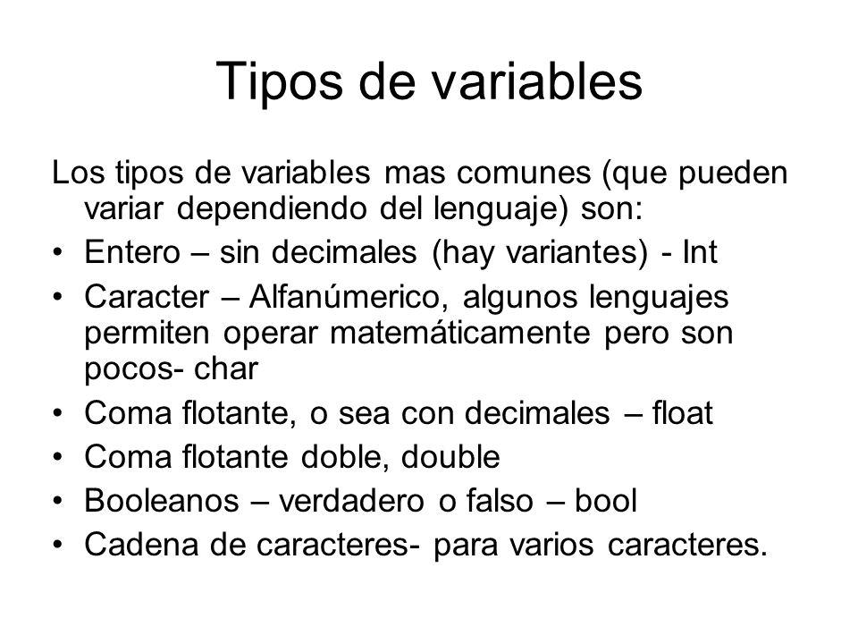 Tipos de variables Los tipos de variables mas comunes (que pueden variar dependiendo del lenguaje) son: