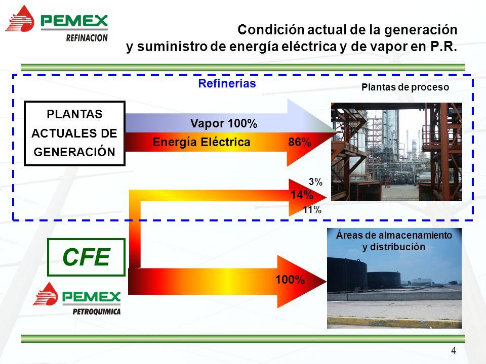 PLANTAS ACTUALES DE GENERACIÓN Áreas de almacenamiento y distribución