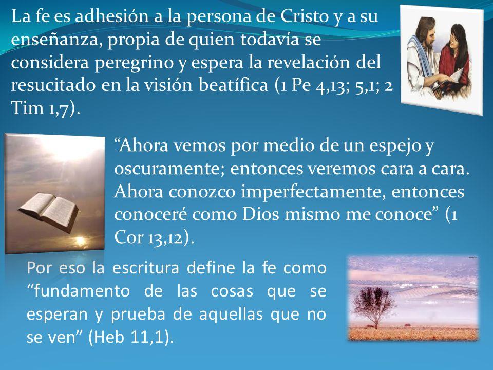 La fe es adhesión a la persona de Cristo y a su enseñanza, propia de quien todavía se considera peregrino y espera la revelación del resucitado en la visión beatífica (1 Pe 4,13; 5,1; 2 Tim 1,7).