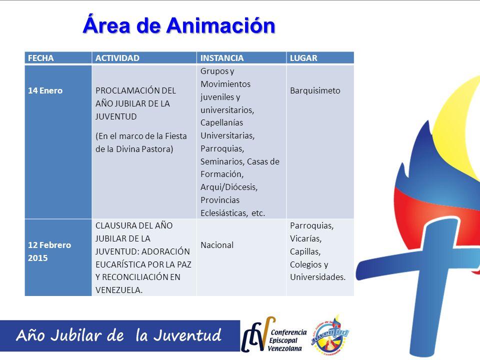 Área de Animación FECHA ACTIVIDAD INSTANCIA LUGAR 14 Enero