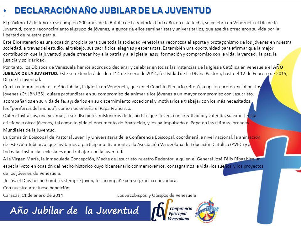 DECLARACIÓN AÑO JUBILAR DE LA JUVENTUD