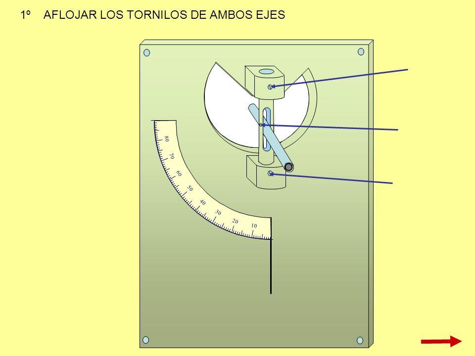 1º AFLOJAR LOS TORNILOS DE AMBOS EJES