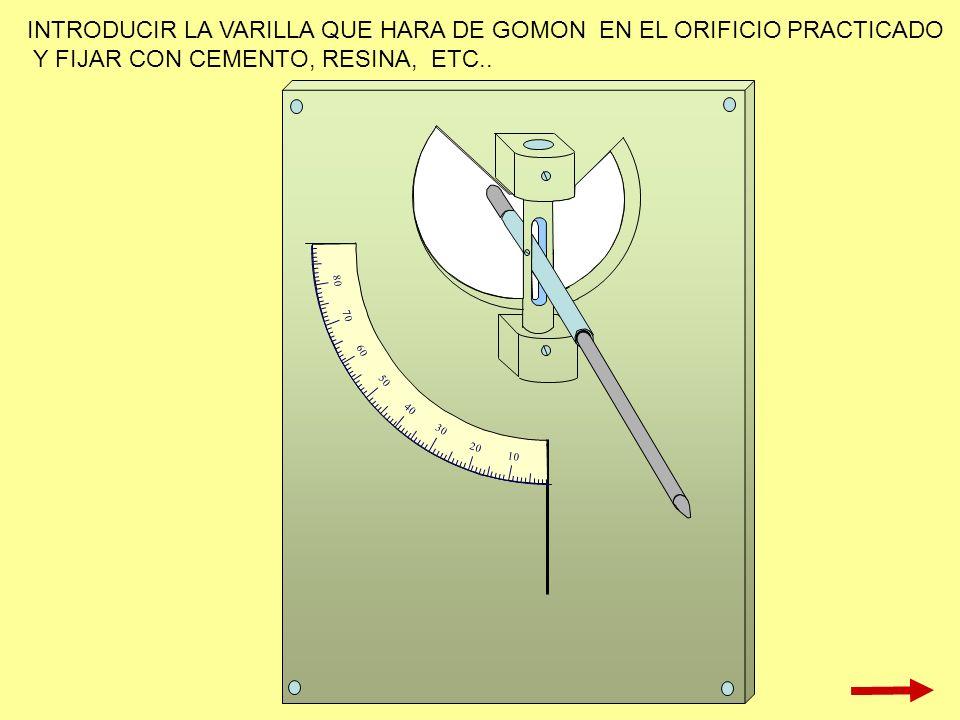 INTRODUCIR LA VARILLA QUE HARA DE GOMON EN EL ORIFICIO PRACTICADO