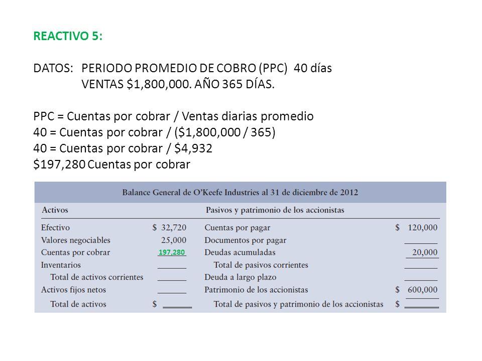 DATOS: PERIODO PROMEDIO DE COBRO (PPC) 40 días