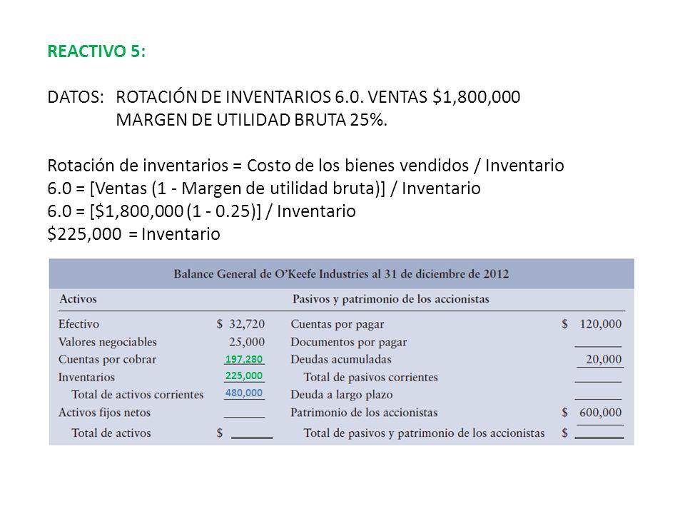 DATOS: ROTACIÓN DE INVENTARIOS 6.0. VENTAS $1,800,000