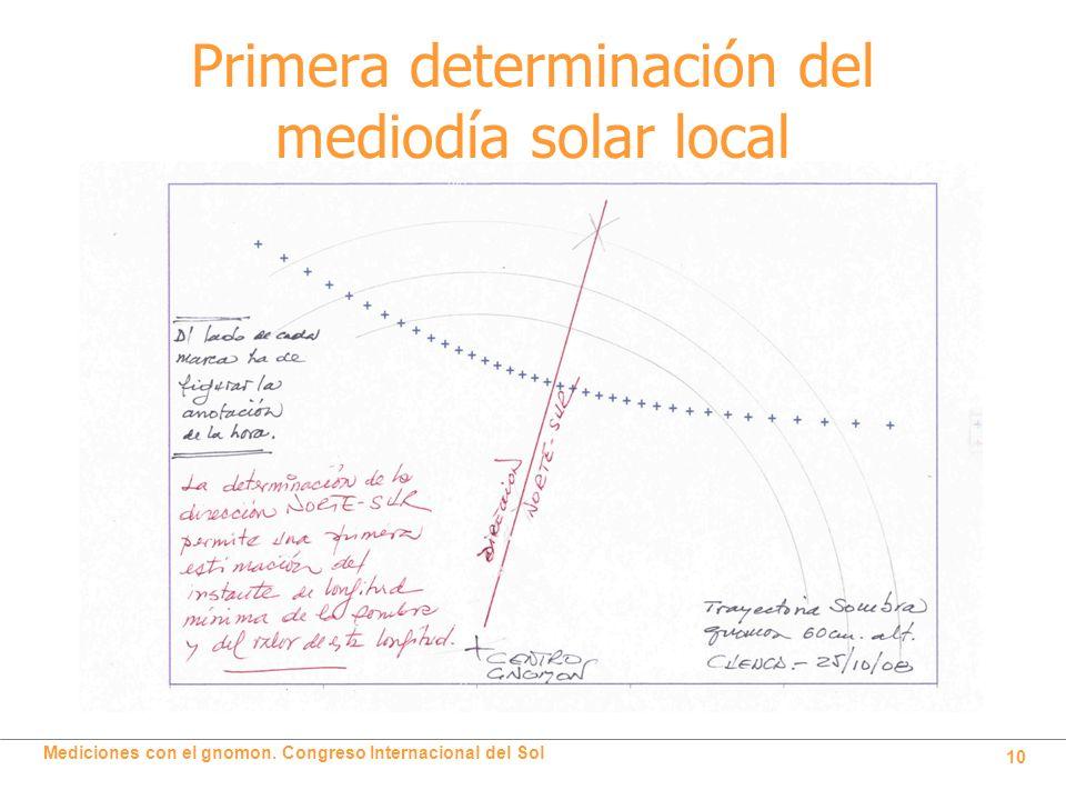 Primera determinación del mediodía solar local