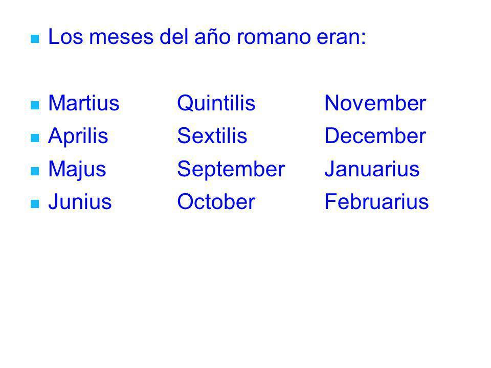 Los meses del año romano eran: