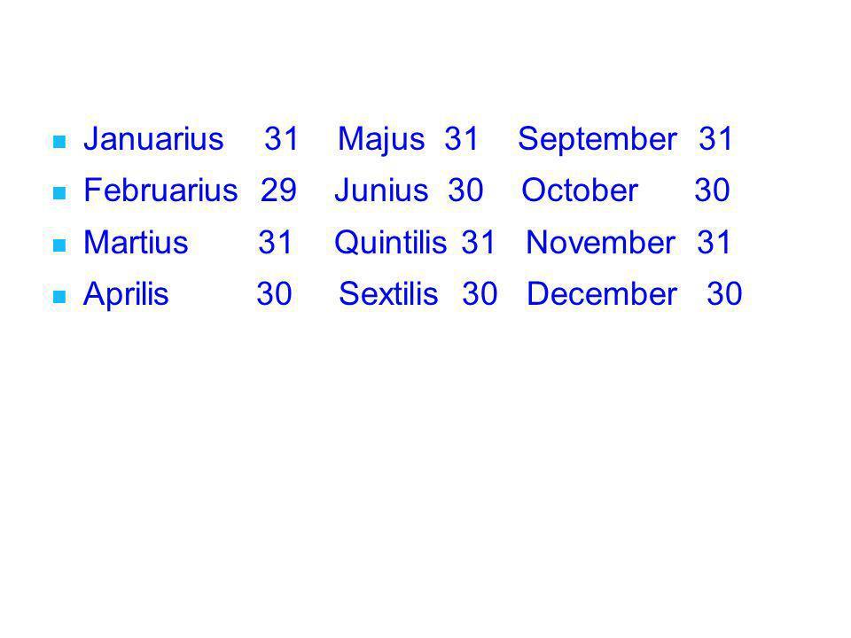 Januarius 31 Majus 31 September 31