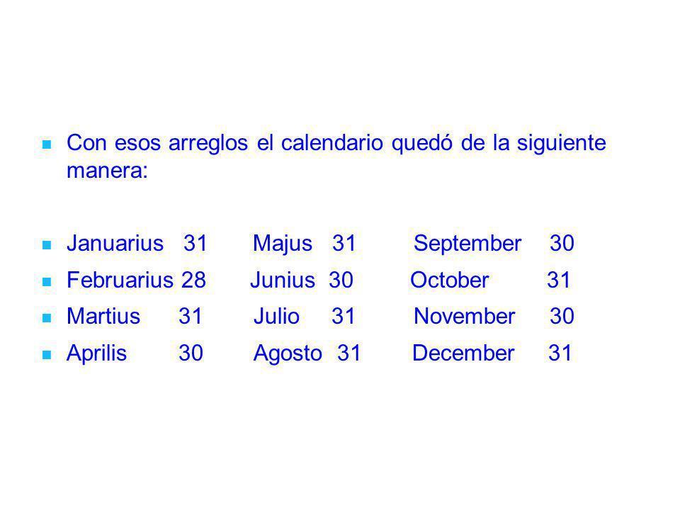 Con esos arreglos el calendario quedó de la siguiente manera: