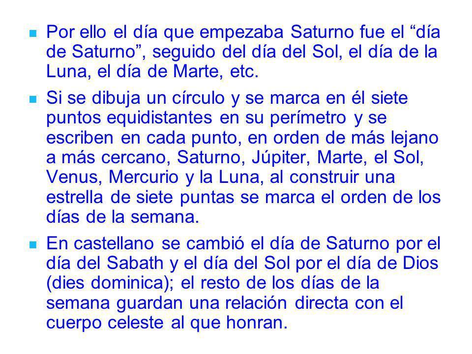 Por ello el día que empezaba Saturno fue el día de Saturno , seguido del día del Sol, el día de la Luna, el día de Marte, etc.