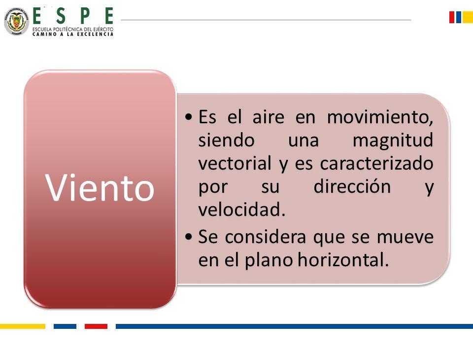 Es el aire en movimiento, siendo una magnitud vectorial y es caracterizado por su dirección y velocidad.