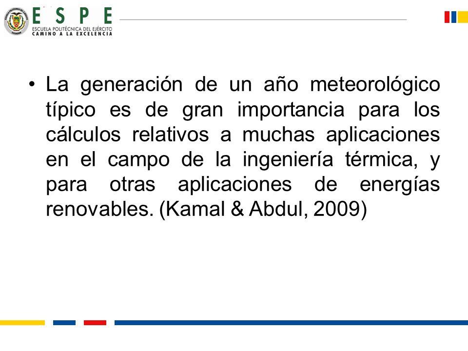 La generación de un año meteorológico típico es de gran importancia para los cálculos relativos a muchas aplicaciones en el campo de la ingeniería térmica, y para otras aplicaciones de energías renovables.
