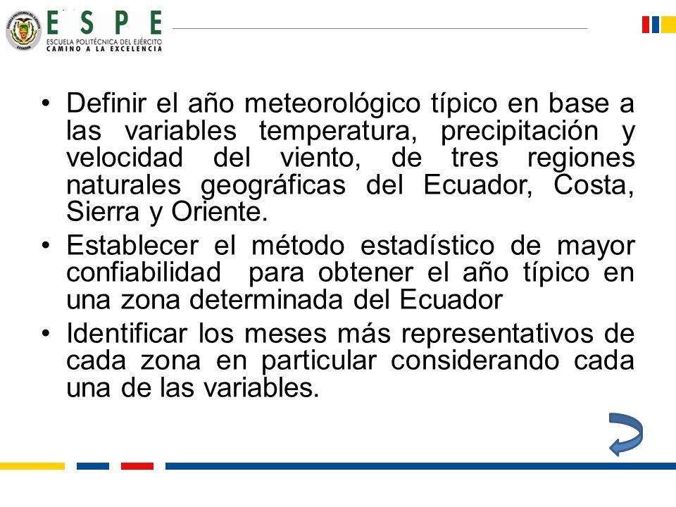 Definir el año meteorológico típico en base a las variables temperatura, precipitación y velocidad del viento, de tres regiones naturales geográficas del Ecuador, Costa, Sierra y Oriente.
