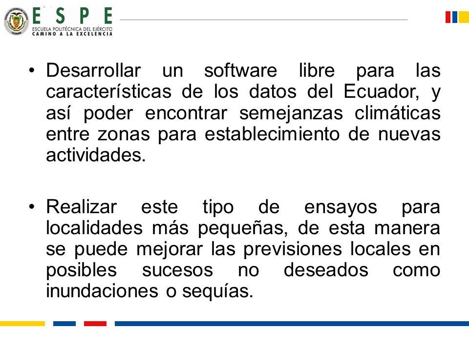 Desarrollar un software libre para las características de los datos del Ecuador, y así poder encontrar semejanzas climáticas entre zonas para establecimiento de nuevas actividades.