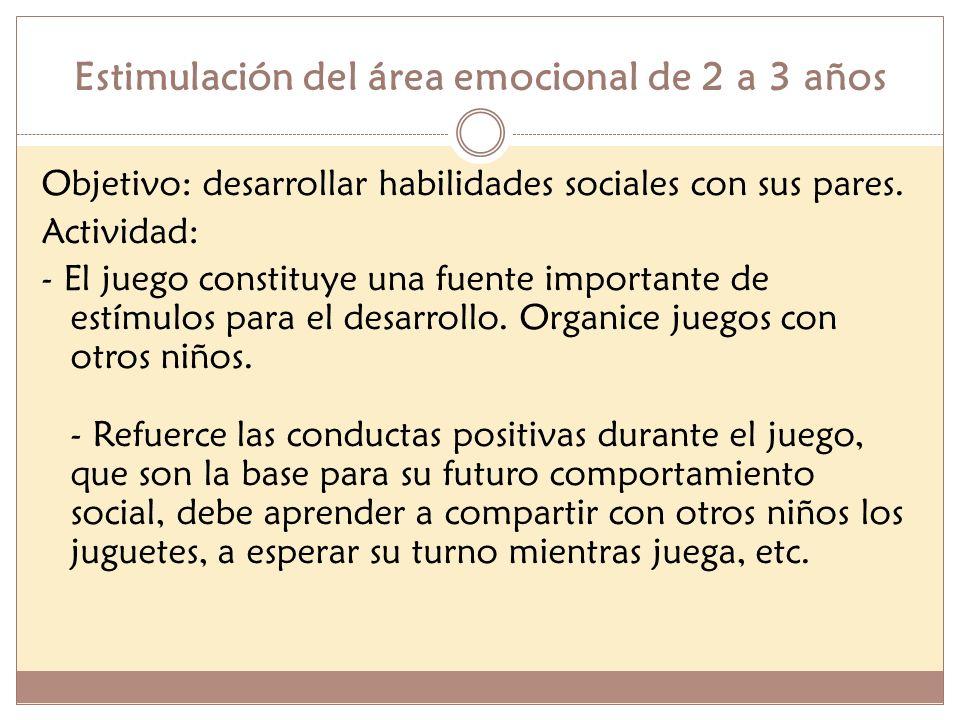Estimulación del área emocional de 2 a 3 años