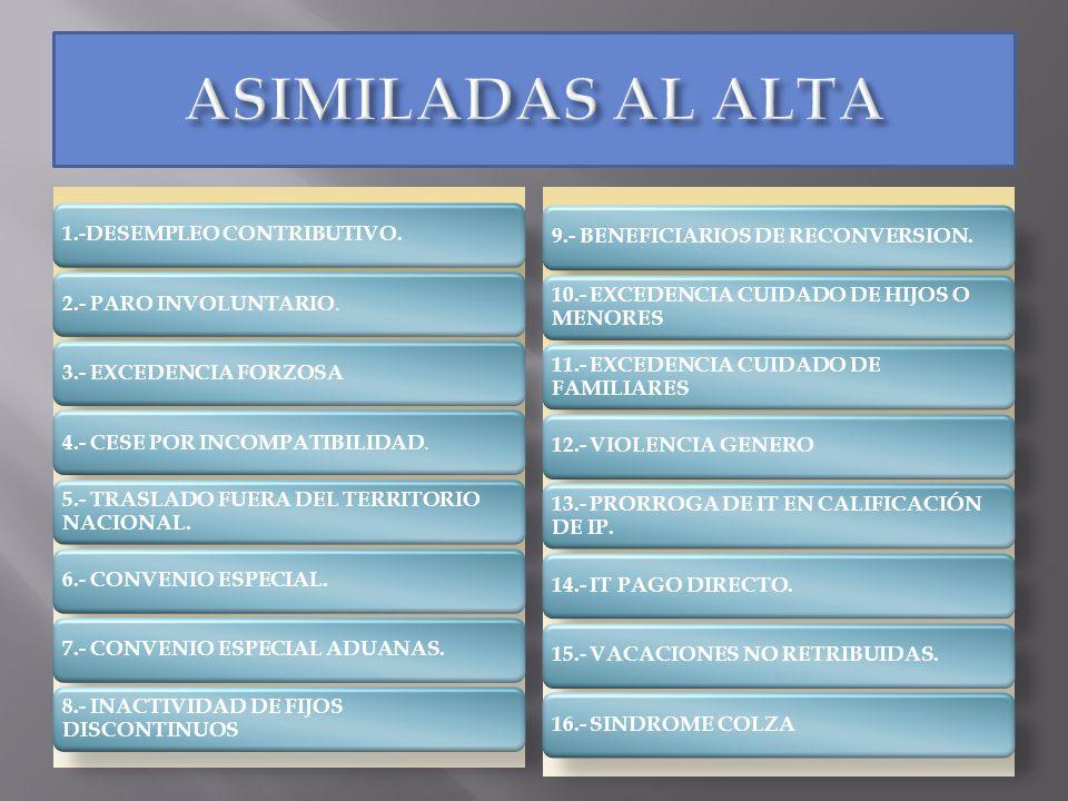 ASIMILADAS AL ALTA 9.- BENEFICIARIOS DE RECONVERSION.